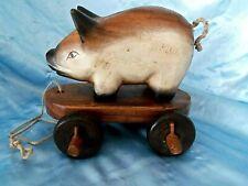 Vintage Antique pull rolling handmad Wood Pig Pull toy