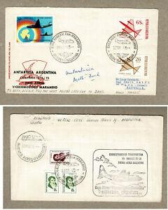 1974 ARGENTINA FFC Flight Cover via AUSTRALIA to Davis Base ANTARCTICA Return