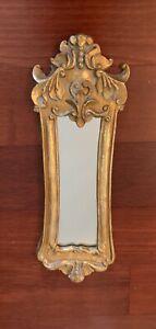 "Vintage Gold Framed Mirror  Chic Elegant Antique Look 17""x6"""