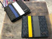 Michael Kors Signature Mens Cooper Passcase ID Billfold Wallet Blue & Black $138