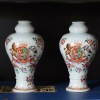 A pair of antique armorial vases in chinese export style from Samson 19th C
