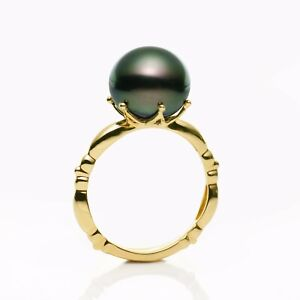 Flawless 11MM+ Green Tahitian Saltwater Pearl Ring 14K Solid Yellow Gold,7#