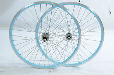 "PAIR 24"" BLUE RIM MTB WHEELS FROM RALEIGH CHIC 24 x 1.75 ALLOY SUITS 5/6 SPEED"