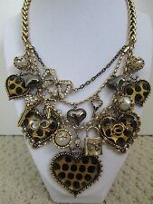 Auth Betsey Johnson Polka Heart Love Lock Key Charm Chain Statement Necklace