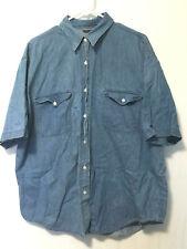 Nostalgia Shirt Blouse Womens Size 2x Blue Jean Short Sleeve Button-Front Top
