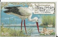 birth announcement postcard from 1911 with stork dated april 27 1911