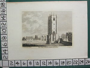 1785 DATED ANTIQUE YORKSHIRE PRINT ~ GREY FRIAR'S MONASTERY RICHMOND RUINS