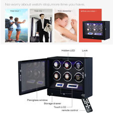 Drawer Led Touch Pad Controls w/ Remote 6 + 2 Watch Winder Black with Storage