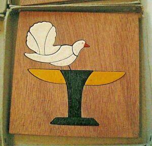 6 Anciens puzzles en bois signés