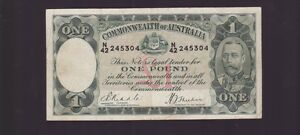 old Commonwealth of Australia One Pound Banknote Riddle Sheehan N-775