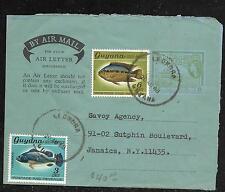 BRITISH GUIANA (P1201BB) 1968 QEII 6C AEROGRAMME + GUYANA FISH 3C+6C TO USA