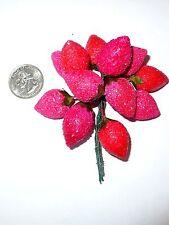 Vintage Craft Cotton Spun Strawberries Bunch Corsage Floral New Cond.
