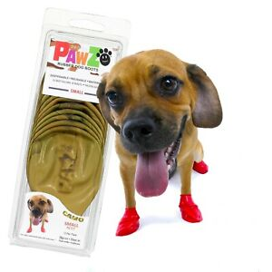 NEW PawZ Rubber Dog Boots Reusable Disposable Waterproof 12 Pack in Camo
