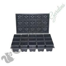 300 x 7cm Square Plant Pots + 20 x Carry Trays Combo Deal Black Plastic Pot
