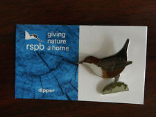 RSPB GNaH dipper Metal Pin Badge on Blue FR Card