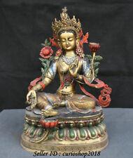 "15"" Old Tibet Bronze Painting Green Tara Mahayana Buddhism enlightenment Statue"
