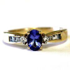10k yellow gold .26ct VS G womens diamond tanzanite ring 3.1g estate vintage
