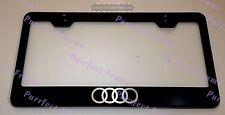 """AUDI"" Logo LASER Style Black Stainless Steel License Plate Frame W/ Bolt Caps"