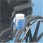 Clamp-on Wheelchair Drink Holder Left or Right Hand Adjustable Bright Blue Cup