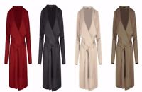 New Women Ladies Short Duster Jacket French Belted Trench Waterfall Coat UK 8-28