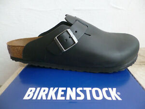 Birkenstock Boston Clogs Mules Men's Black Real Leather New