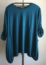 Lagenlook Teal Cotton Tunic with Side Pockets Plus Size Free Size to Size 24