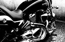 Framed Print - Suzuki M1500 Motorbike Black & White (Picture Poster Bike Art)