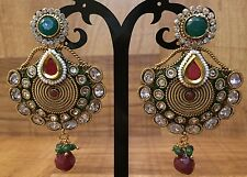 New Indian Pakistani Ethnic Gold Plate Crystal GreenPink Jhumki Bali Drop Earing