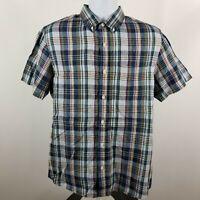 Nordstrom Trim Fit Blue Green Gray Plaid Casual Summer Linen Button Shirt Medium
