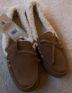 Totes Isotoner Mens Tan Moccasin suede Slippers Large size 10-11 UK Brand New