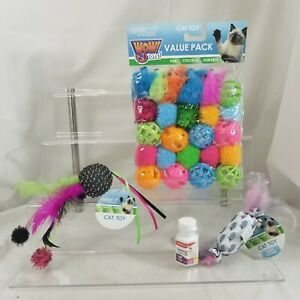 CAT TOYS 24 pack of Balls MICE fuzzy balls Catnip Holders & Extra CATNIP feather