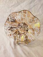 HTF Beautiful Vintage Slump Dish Ruffled Dish Gold Floral Overlay