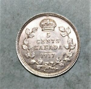 Canada 5 Cents 1917 Brilliant Uncirculated Silver Coin *** Beautiful