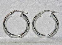 STERLING SILVER (925) LADIES 20mm TWISTED HOOP CREOLE EARRINGS