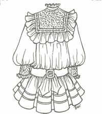 """27-28"""" Doll Dress Pattern Victorian German French Antique vintage look 856"""