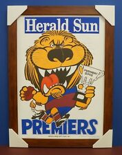 Brisbane Lions 2002 Premiers Herald Sun WEG Print Brown Frame Brown Lynch