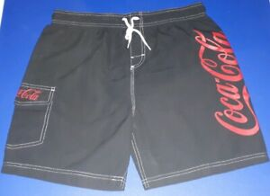 PAIR OF COCA COLA COKE SHORTS SWIMMING SHORTS BATHERS SIZE LARGE IN GREAT USED C