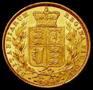 1853 AUNC Queen Victoria Sovereign Raised WW LCGS 70 ( MS60-61)