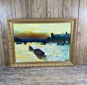 Vintage Framed Oil On Board Painting Of Sunset Harbour & Castle Scene.