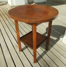 Arts & Crafts Movement Round Oak Side Table Wolverine Chair Co., Michigan Maybe?