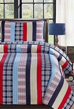 King Patchwork Striped Cotton Quilt Set Red Sky Royal Blue Multi Color w Throw P
