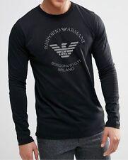 Emporio Armani Borgonuovo,11 Men's Long Sleeve T-shirt - Black - Size: M, L,XL