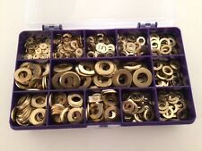 Brass Washers M3, M4, M5, M6, M8, M10, Brass Flat Washers Assorted Box 540 pcs
