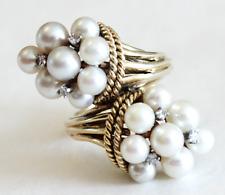 Huge Vintage Cornacopia Pearl & Diamond Ring 14k Yellow Gold Size 5.5