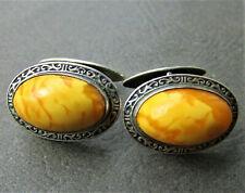Beautiful Antique Baltic Amber Silver Cufflinks