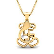 Summer 14K Gold Finish Diamond Hindu Ganesh/Ganesha/Ganpati & Swastik Pendant