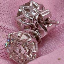 3 Ct Round Natural Genuine Diamond Earrings Studs 8 Prongs 18K White Gold