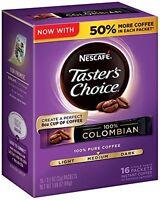 Nescafe Taster's Choice 100% Colombian 16 Piece Instant Coffee Single Serve 1.69