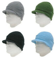 3 pcs KNIT HAT BEANIE WITH VISOR 100% Arlyric Multi-Color One Size Winter Ski