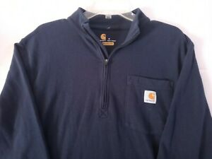 Carhartt Men's 1/4 Zip Mock Neck Long Sleeve,Relaxed Fit, Navy Blue, Small